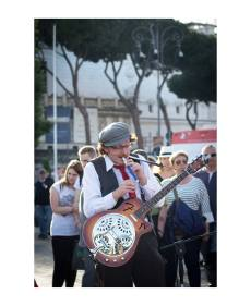 Busking - Peppe Cash on his whistle